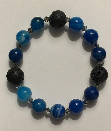 Blue Onyx Agate Stretch Bracelet w/ Lava Stone Bea