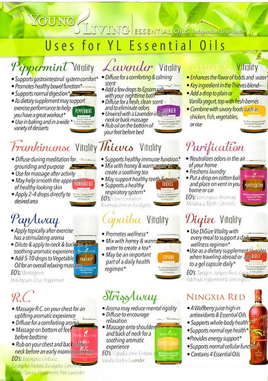 Young Living ENGLISH / SPANISH ~ MOST COMMON USES ~  Flier