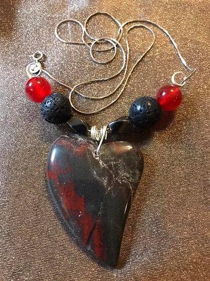 Bloodstone Heart Pendant w/ Lava Stone Beads ~  Sterling Silver