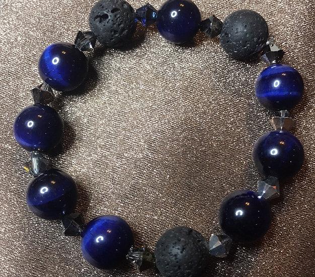 Blue Tiger Eye & Swarovski Crystal Stretch Bracelet
