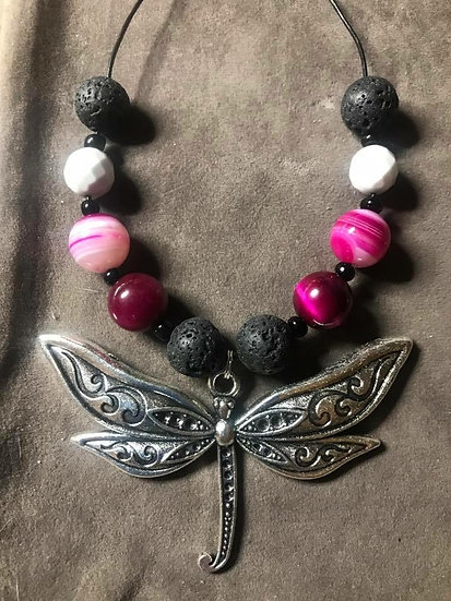 Dragonfly - Lava Bead & Pink Tiger eye Necklace