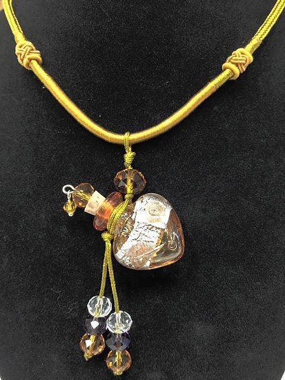 GOLD HEART Murano Glass Diffuser Necklace #GH1