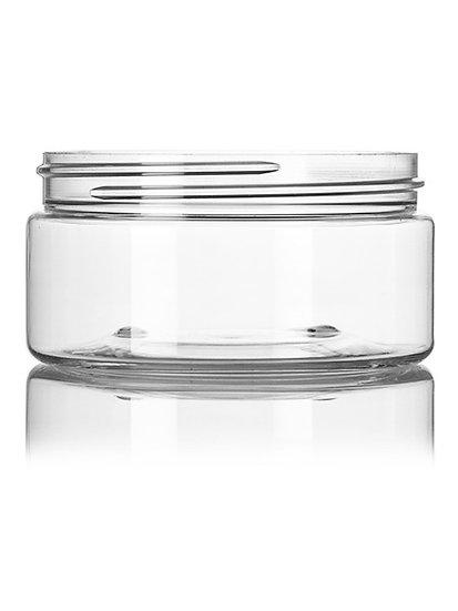 CLEAR 8 oz Wide Mouth PET Plastic Multi Purpose Jar w/ Lid