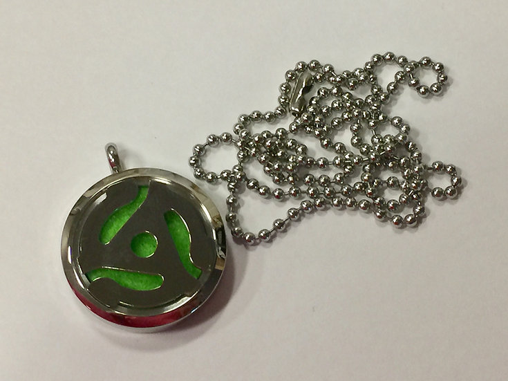 RPM Record Adaptor Stainless Steel Oil Diffuser Locket -CHAIN INCLUDED