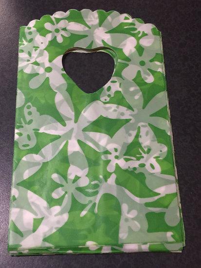 50 ct Mini GREEN ART DECO FLORAL Poly Bags  --  3-1/2 X 5-1/2