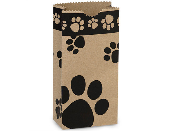 """10 count Paper - USA Made - X SMALL - Dog Paw """"Lunch"""" Sack"""