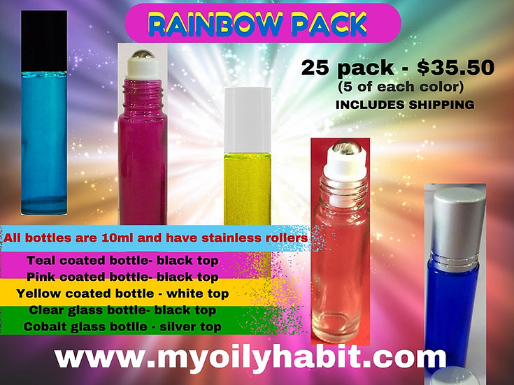 Rainbow Roller Bottles - 25 pack - Shipping Inc