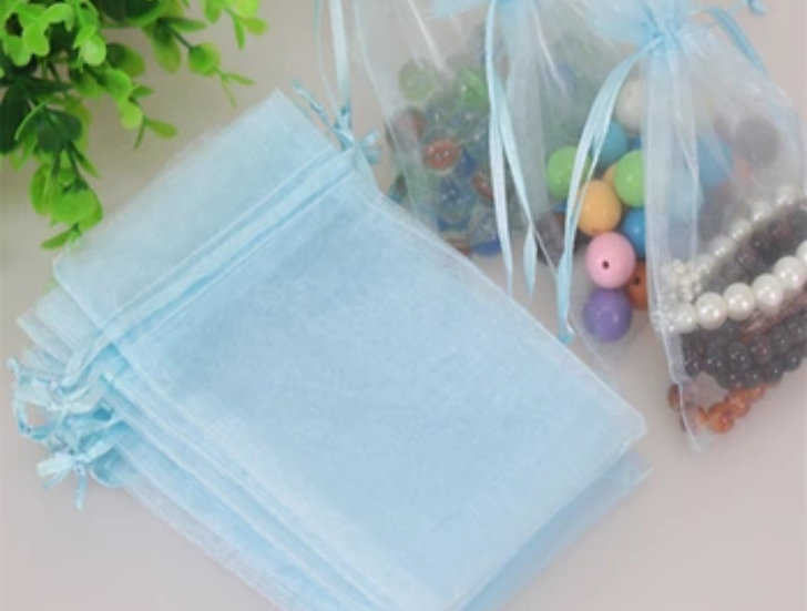 100 ct Easter Egg Blue Organza Bags  -- 3-1/2' X 4-1/2""