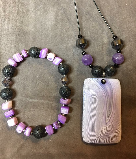 Frosted Purple Agate - Lava Rock Necklace
