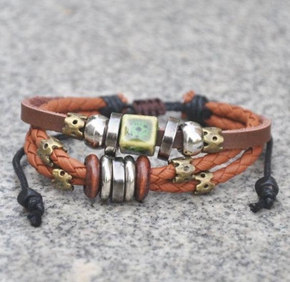 Multi Strand Leather GREEN BEAD Diffuser Bracelet