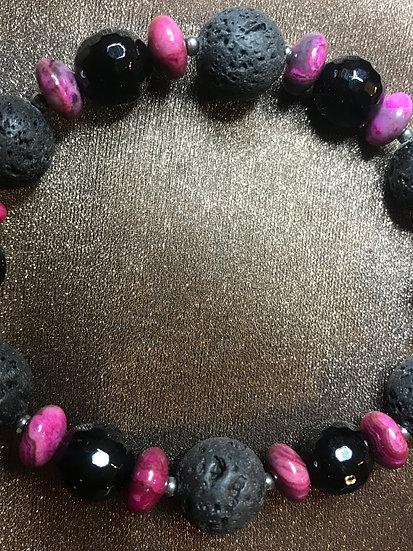 Magenta Crazy Lace Agate, Black Faceted Onyx & Lava Stone Stretch Bracelet
