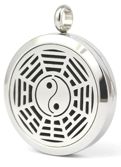 YIN YANG web ~ 30mm Stainless Steel Locket Diffuser - chain included