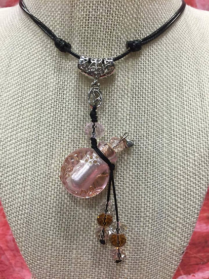 Pink Murano Glass Diffuser Necklace #PB4