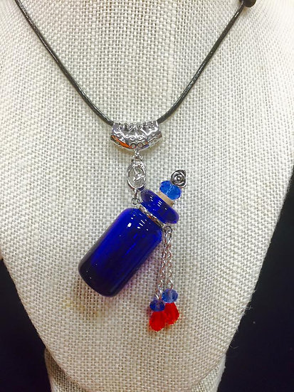 Cobalt Blue Baroque Bottle Necklace