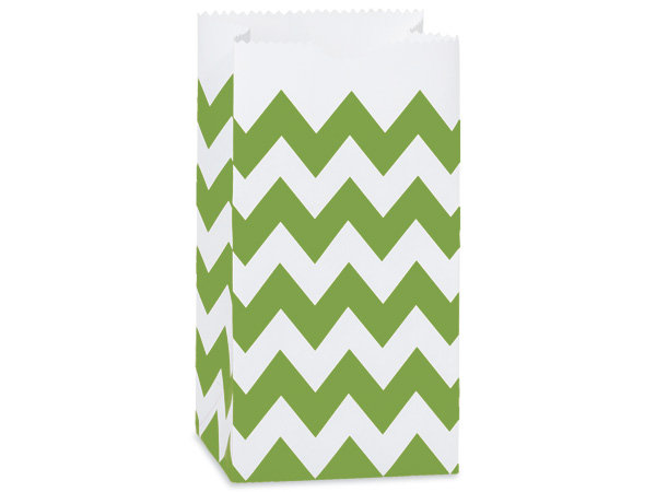 "10 count Paper - USA Made - SMALL - APPLE GREEN CHEVRON  ""Lunch"" Sack"