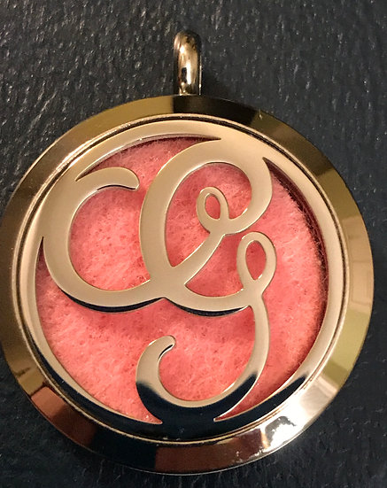 G - Initial Monogram ~ 30mm Stainless Steel Locket Diffuser - chain incl