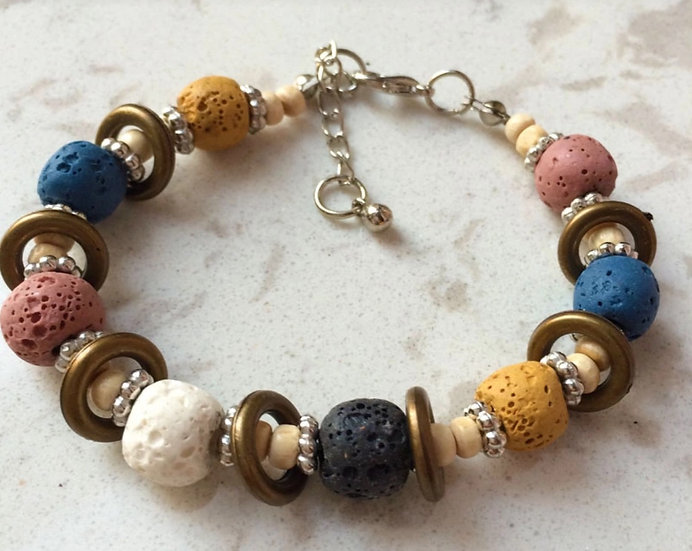 Nature Colored  Bead Lava Rock Diffuser Bracelet