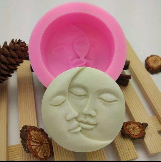Sun Face / Moon Face  Silicone Soap Mold