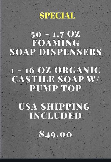 SPECIAL  50 -  1.7oz Foaming Soap Dispense + SOAP - INC SHIP
