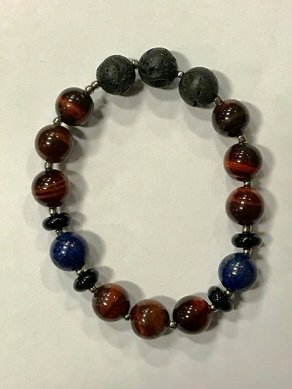 Red Tiger Eye, Lazuli Lapis and Lava Bead  Bracelet
