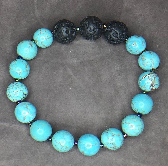 Turquoise & Lava Bead Stretch Bracelet