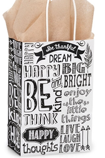 10 count Recycled Paper - USA - CHALKBOARD SENTIMENTS SMALL Shopper Bag -