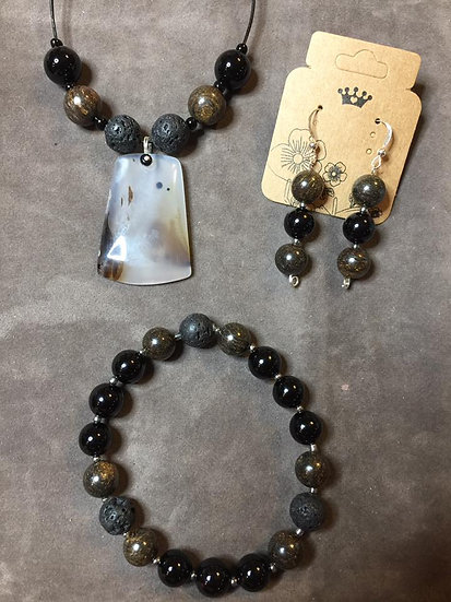 Onyx Agate and Lava Stone 3 PC Set