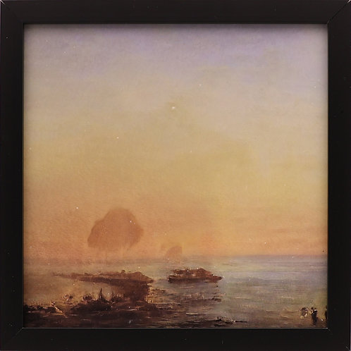 """11. """"A group of boats in the bay during a sunrise."""""""