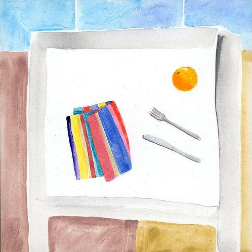 Table (Series 7), 12 of 30: Linen Napkin, Knife, Fork, Orange
