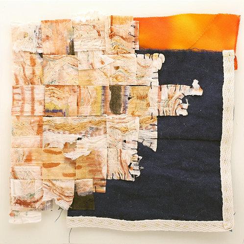 21. Indigo and Orange Silk with Woven White