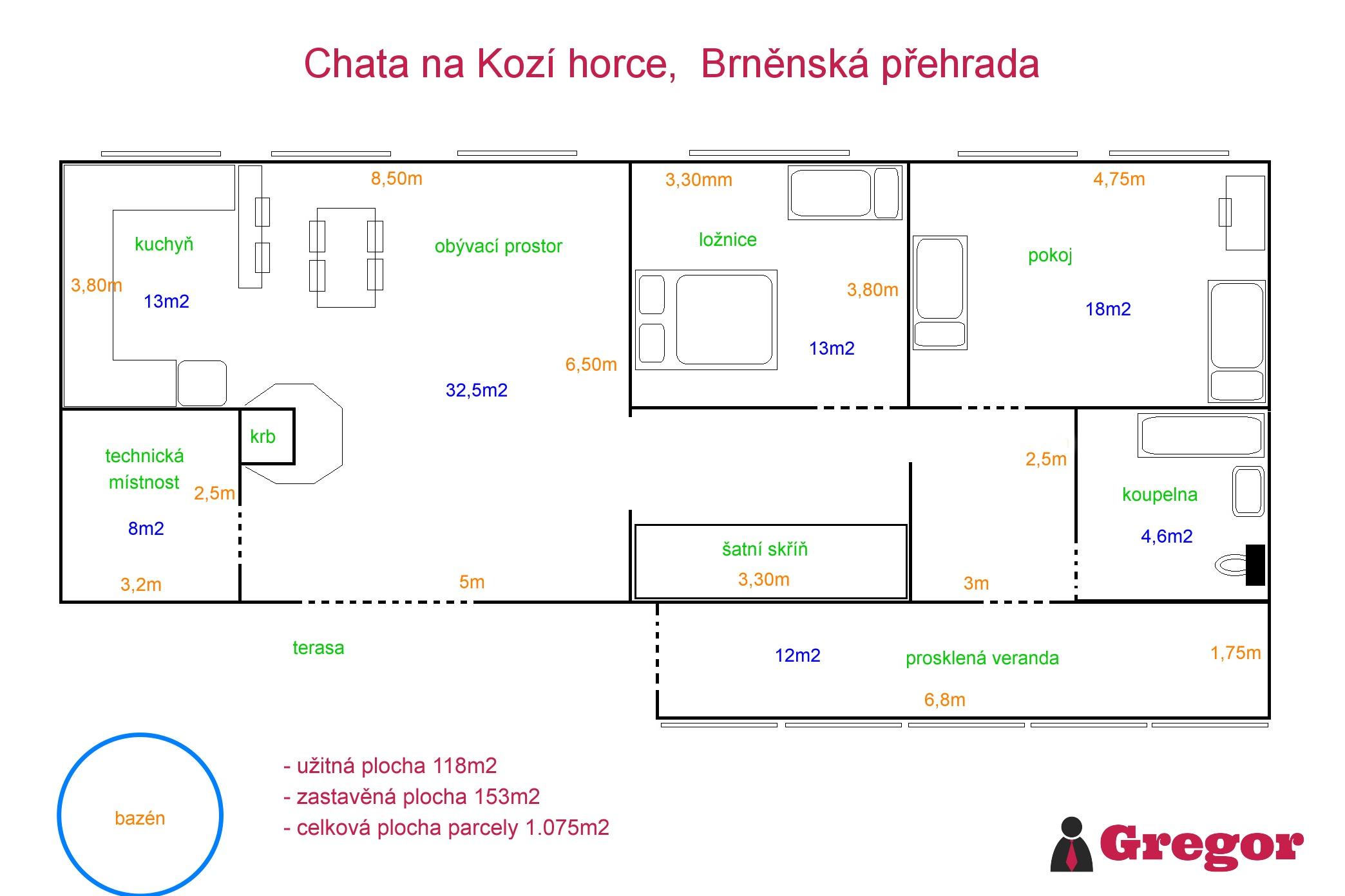 Půdorys_Chata_Přehrada_Brno