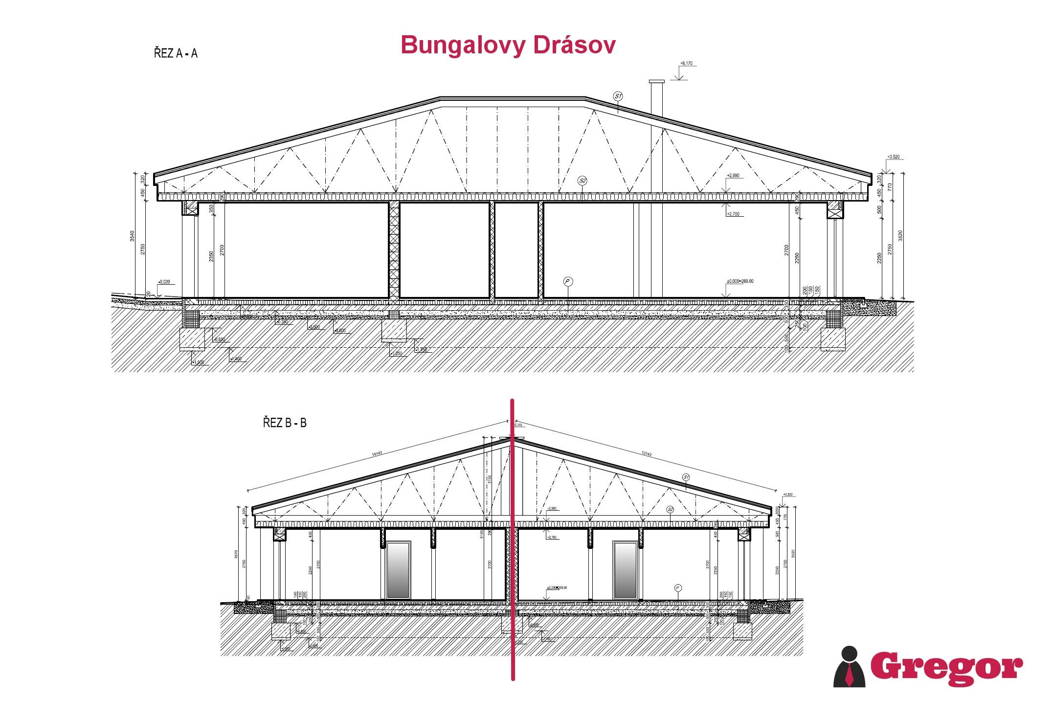 Řez_bungalov_Drásov