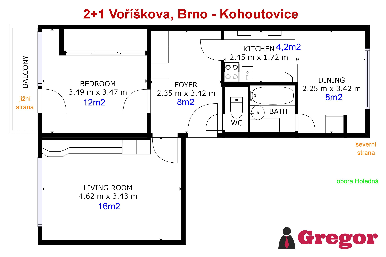 Půdorys_2+1 Voříškova_Brno