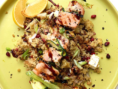 Salmon Skewers with Feta & Pomegranate Couscous