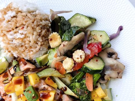 Teriyaki Salmon with Mango Salsa and Coconut Rice