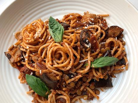Aubergine, Lentil & Mushroom Ragù
