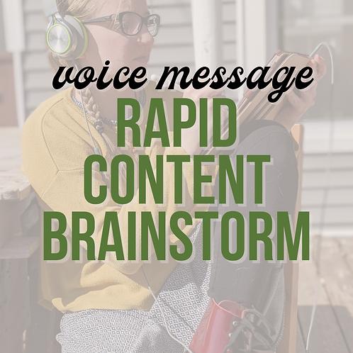 Rapid Content Brainstorm