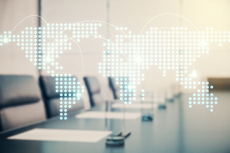 Abstract virtual world map with connections on a modern conference room background, intern