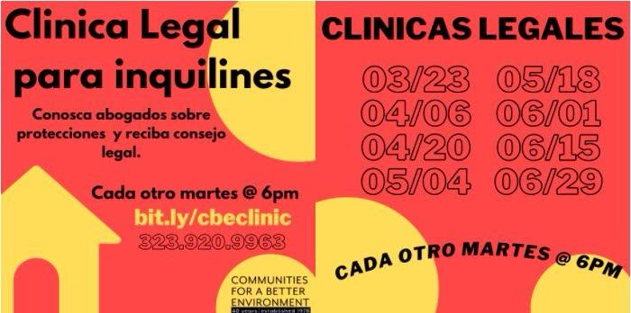 Clinica Legal para inquilines cada otro martes