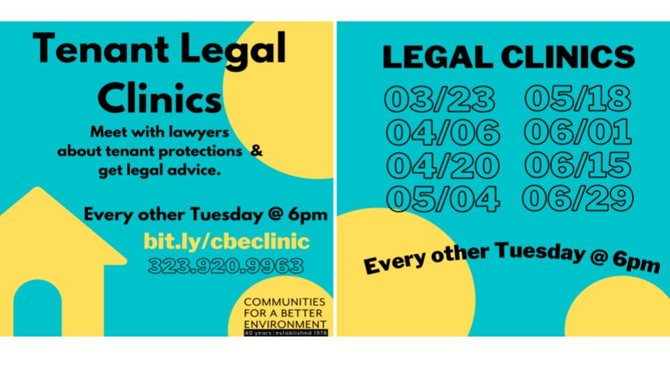 Tenant Legal Clinics with CBE every other Tuesday