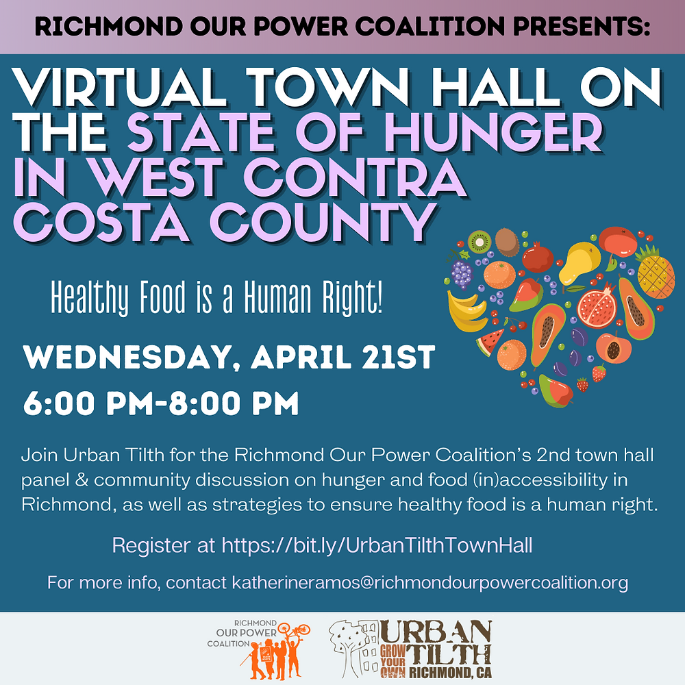 Virtual town hall on the state of hunger in West Contra Costa County on April 21st