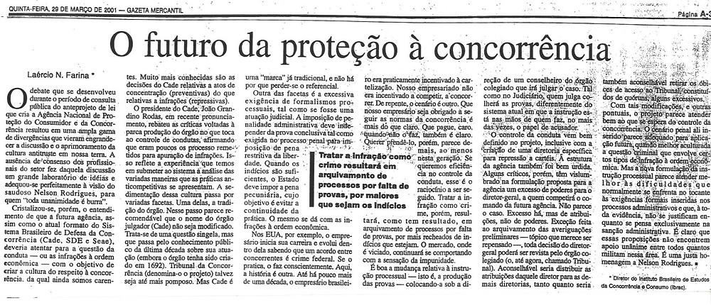 Artigo publicado em 29 de março de 2001