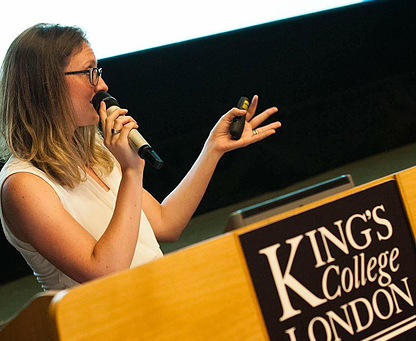 Attoney at law speaks at King's College London