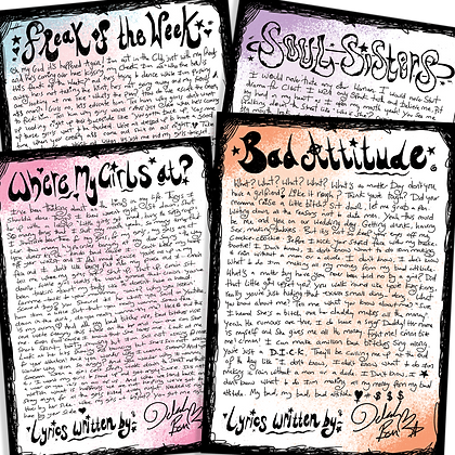 Signed Lyric Sheet Prints