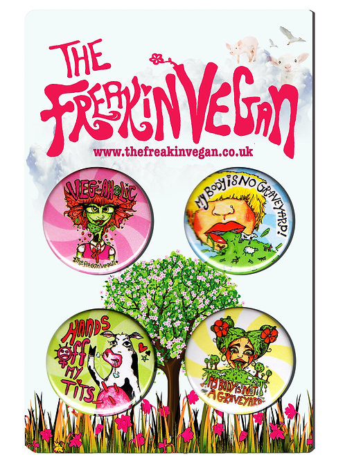 Vegan hand-drawn badge set