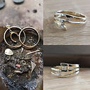 Gouden ring bezet met twee diamanten. On