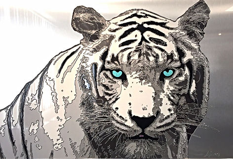 TIGRE - TIGRE BLANC - ALUMINIUM - TABEAU TIGRE - JEROME LEFRANCOIS