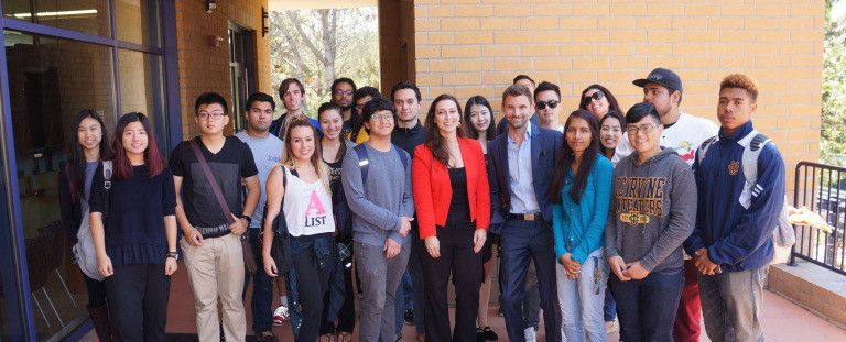 Jennifer Grady and Anthony Mance speaking to international students at the University of California, Irvine, about post-grad visa options