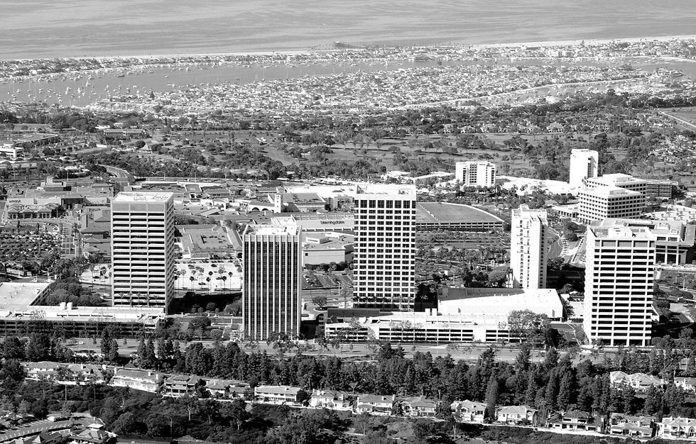 Black and white aerial photo of a city