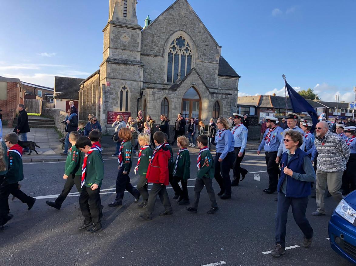 Cubs march past church 2.jpg